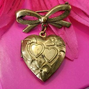 Vintage locket bow brooch heart pin gold tone